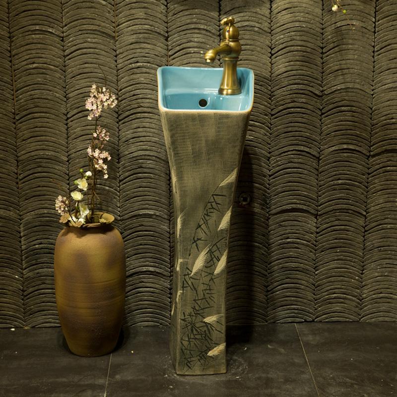 洗手盆立柱盆台盆一体阳台陶瓷立柱式洗脸盆卫生间柱盆立式落地式