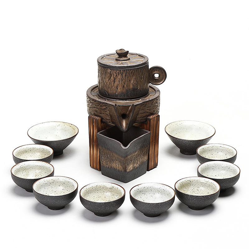 Really hold the hot insulation finances rolling automatic restoring ancient ways tea set coarse pottery originality of a complete set of kung fu tea set