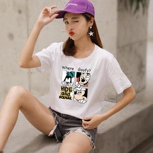 2019新款短袖T恤女宽松简约夏季超火cec白色纯棉圆领半袖体恤上衣