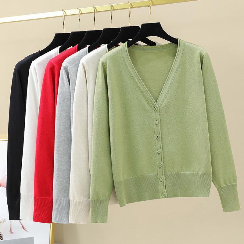 牛油果绿纯色开衫毛衣外套女短款小香风韩范ins单排扣针织衫外套