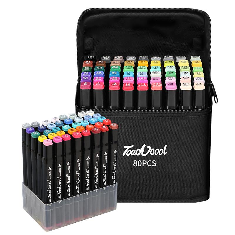 touchcool马克笔套装学生48色美术生漫画专用涂鸦绘画儿童双头水彩笔60色30色80色24色全套1000色油性正版