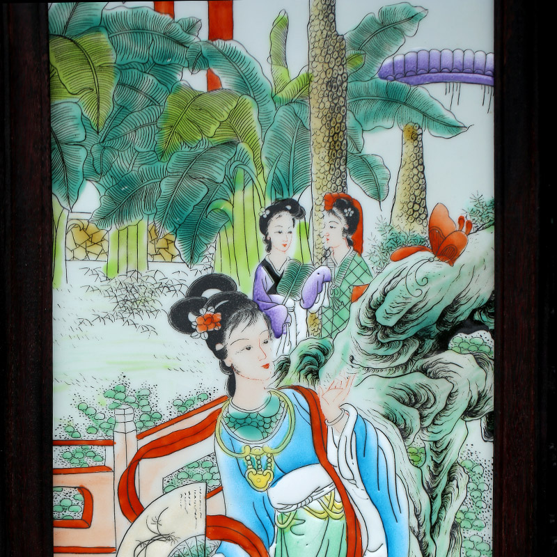 Jingdezhen ceramic jinling twelve women of porcelain plate painting sitting room background wall adornment four screen to hang a picture to the study