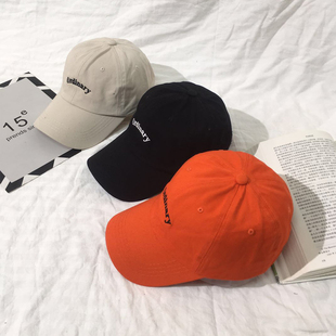 夏天帽子女 衬肤显白桔色棒球帽英文字母刺绣潮人鸭舌帽橙色帽潮