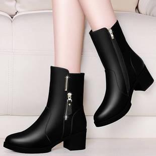 【优质软皮】秋冬季短靴女鞋粗跟时尚女单靴中跟加绒雪地靴女靴14
