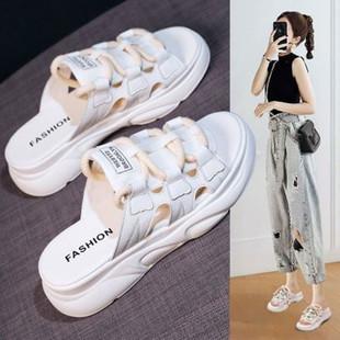 半拖鞋子女时尚外穿2020夏季新款韩版网红百搭女鞋厚底鞋ins潮鞋