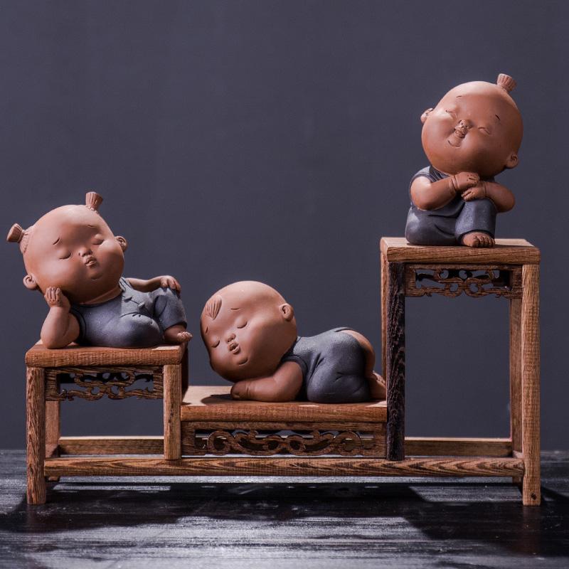 鎏玉堂禅意中式家居装饰品陶瓷茶具配件玄关博古架小和尚摆设万博网页版登录入口