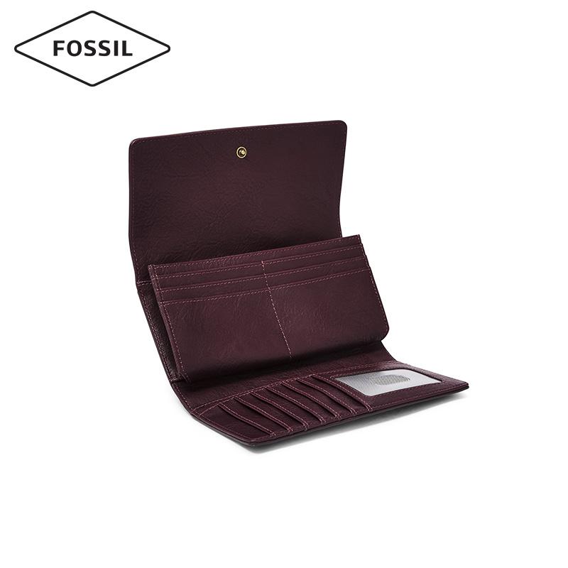 Fossil2019秋季新品搭扣式多卡位简约复古纯色长款钱包女SL7929