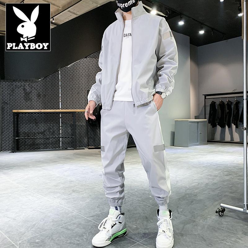 花花公子三件套休闲运动套装男2020秋季韩版潮流修身夹克外套男