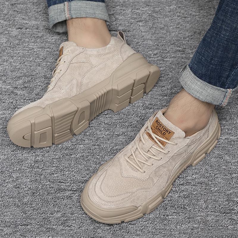 马丁靴男秋季真皮透气工装鞋复古男士低帮休闲鞋英伦潮男大头皮鞋
