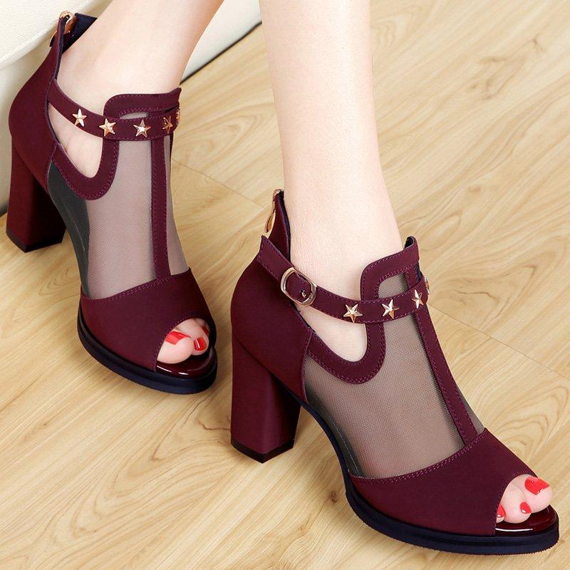 时尚网纱凉鞋女夏季新款百搭高跟鞋韩版中跟女鞋子包跟粗跟女凉鞋