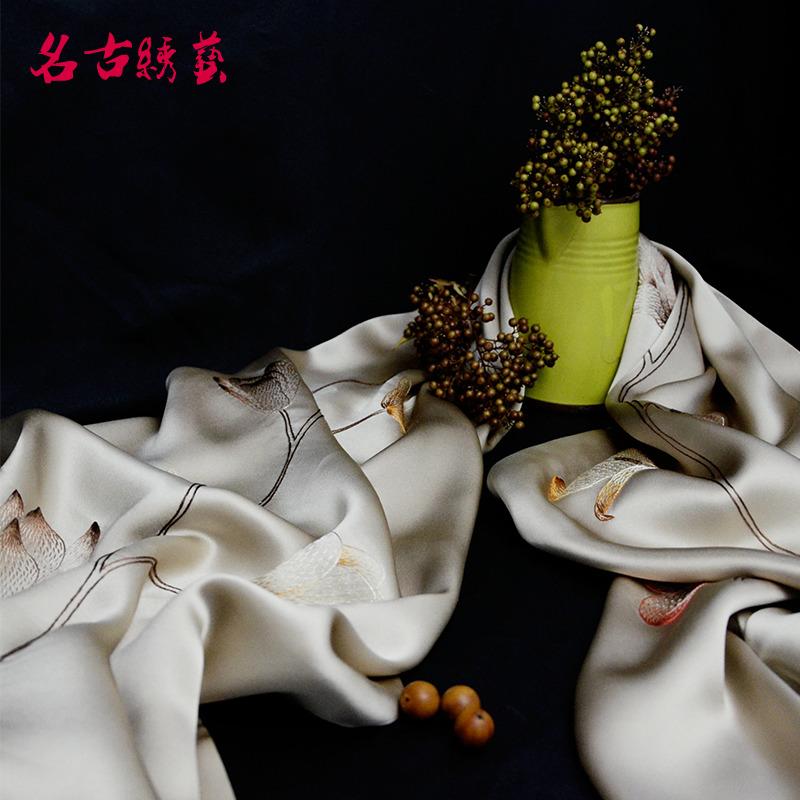 名古绣艺2018新款手工苏绣桑蚕丝披肩 女士妈妈丝巾特色礼品
