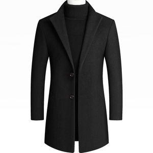 毛呢男秋冬外套男2020新款呢大衣修身羊毛呢男装中长款呢子风衣