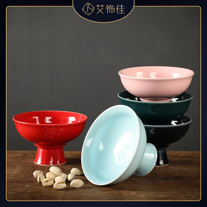High fruit bowl contracted and I creative, creative household ceramic bowl candy tea table in the living room furnishing articles