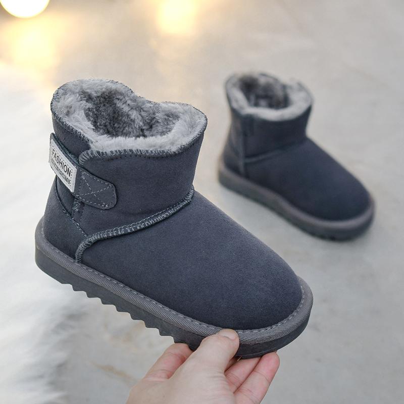 儿童雪地靴男女童鞋冬季2019新款真皮短靴子小中大童加绒加厚棉鞋