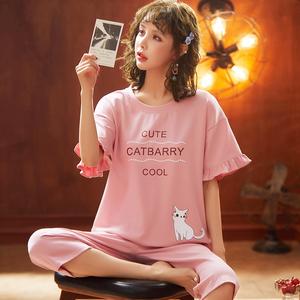 少女针织棉睡衣短袖七分裤甜美套装家居服可外穿