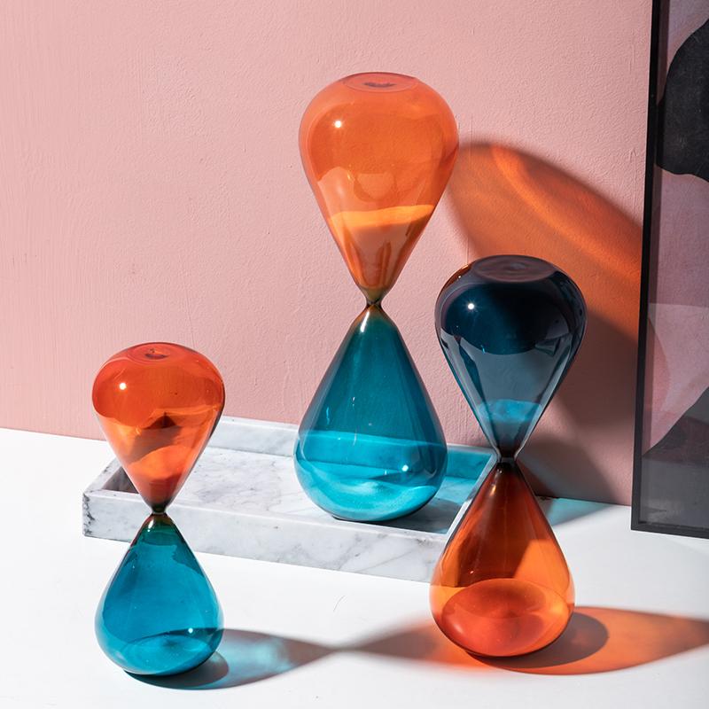 北欧创意玻璃沙漏计时器摆件客厅办公室简约现代家居装饰品小摆设