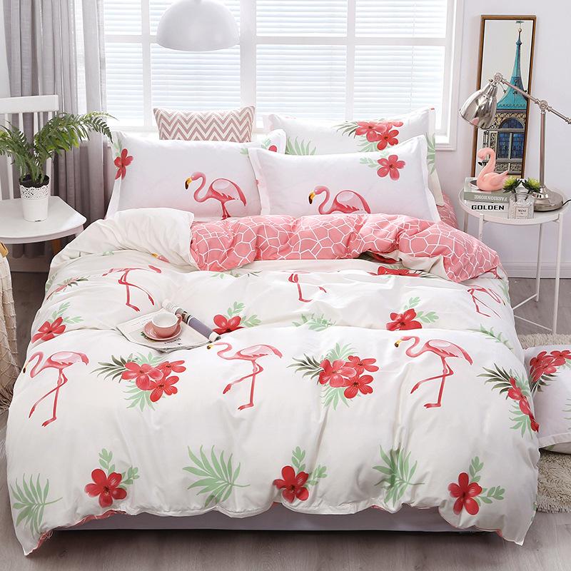 2020网红四件套新款床上用品四件套田园风床单被罩芦荟棉可机洗1
