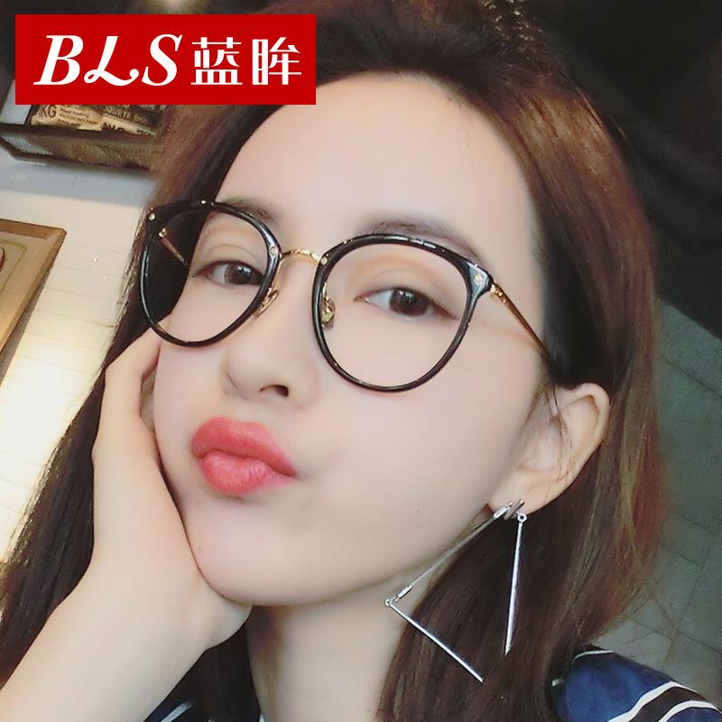 防蓝光辐射眼镜女士圆脸复古近视素颜眼镜框男平光镜电脑护目镜