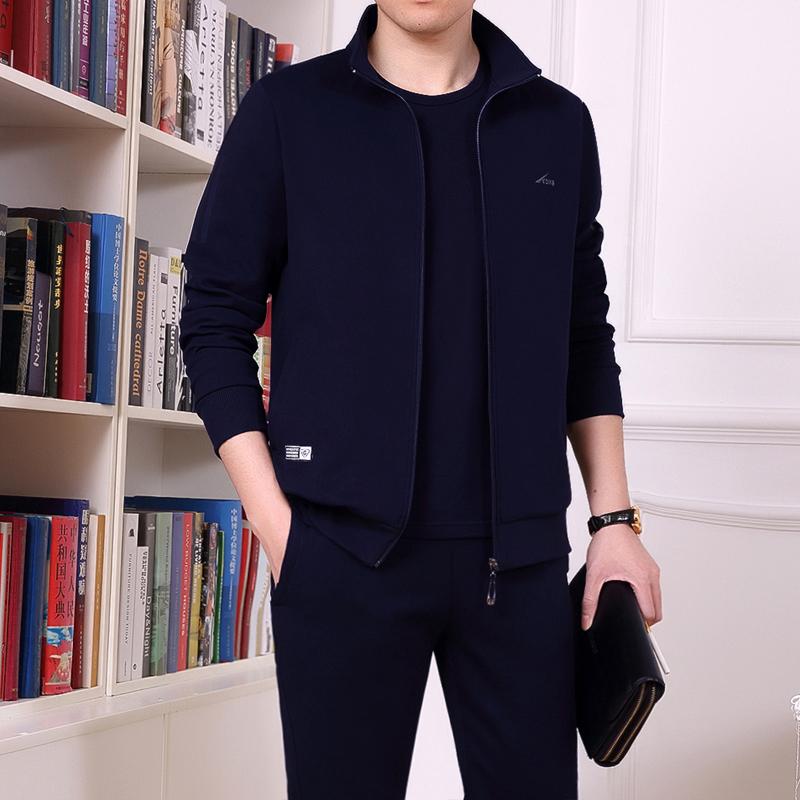 男士运动套装春秋季运动服中老年大码休闲套装爸爸装卫衣男运动衣