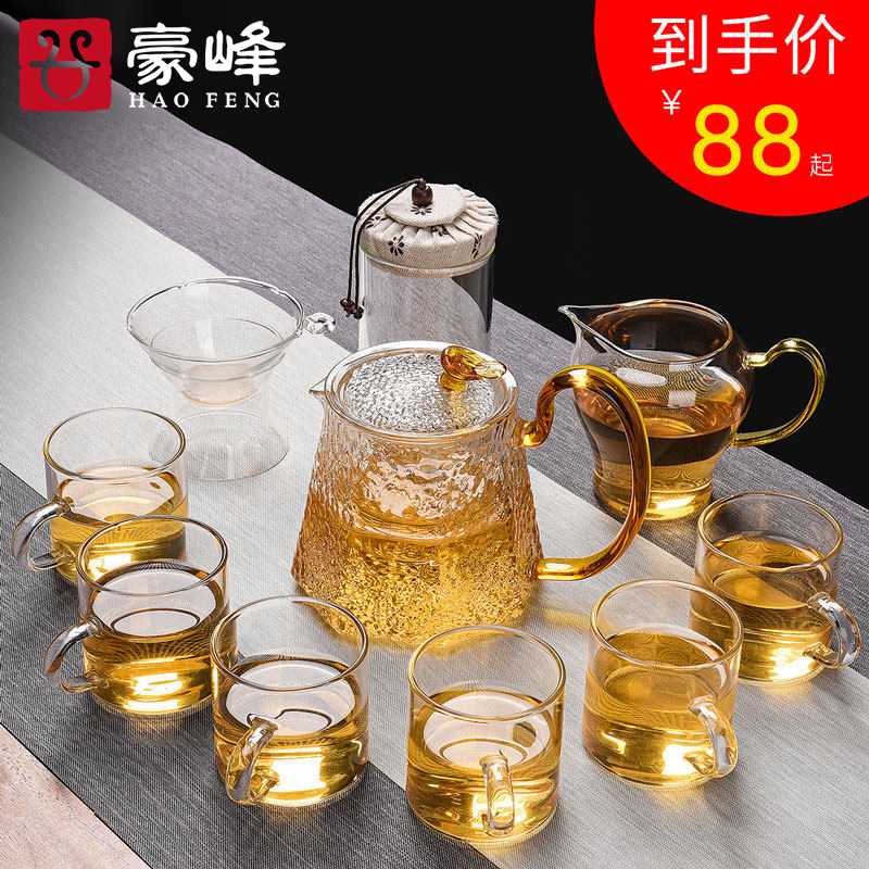 Kung fu HaoFeng Japanese heat - resistant glass tea set domestic tea taking contracted teapot teacup tea tureen