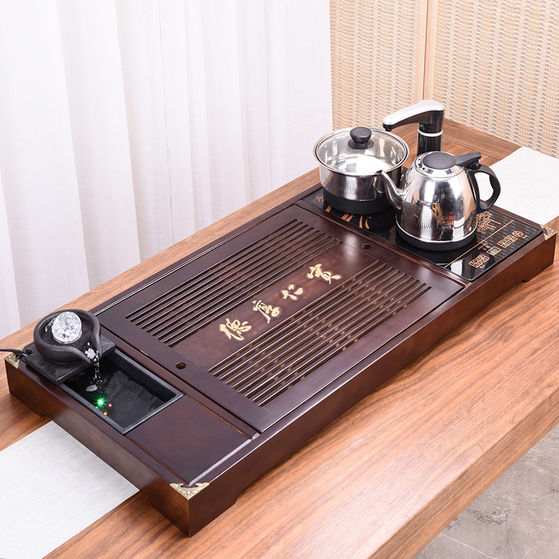 HaoFeng kung fu tea set of a complete set of domestic solid wood tea tray ceramic teapot automatic contracted tea tea table