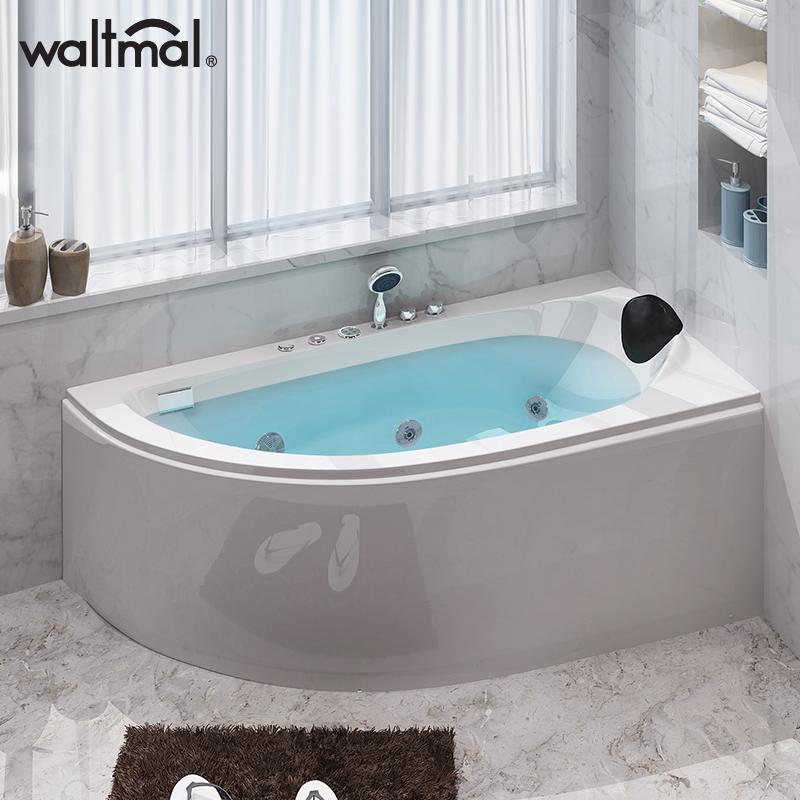 沃特玛 小户型浴缸迷你扇形亚克力浴缸家用成人冲浪按摩恒温加热
