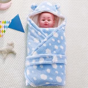 贝乐迪婴儿抱被秋冬包被加厚保暖襁褓毛绒毯子初生宝宝新生儿用品