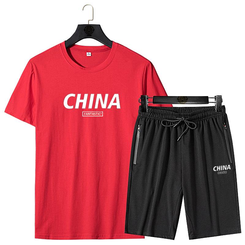 爵森马伯特休闲运动套装男士夏季短袖短裤韩版潮流一套帅气纯棉
