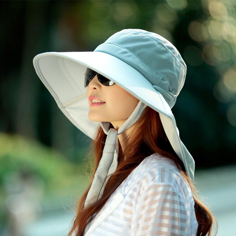 遮阳帽女夏季防晒草帽百搭大檐骑电动车防紫外线防风护颈马尾帽子