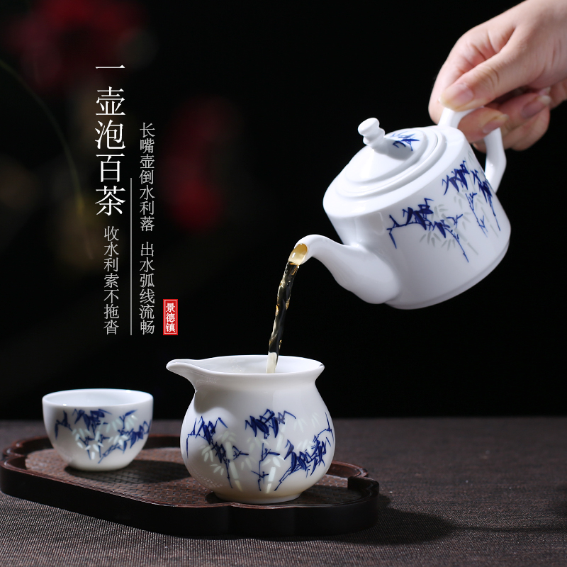 Jingdezhen up fire ceramic teapot single pot which is blue and white and exquisite hand - made kung fu tea set home make tea