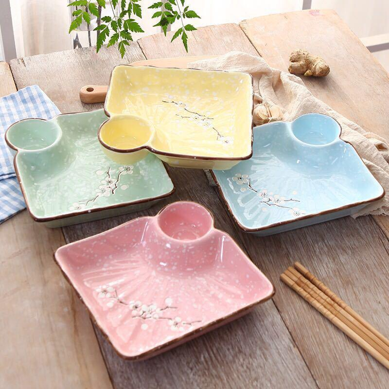 Dumplings dribbling vinegar dish creative ceramic plate household means dish dish fastfood breakfast fries Japanese - style tableware square plate