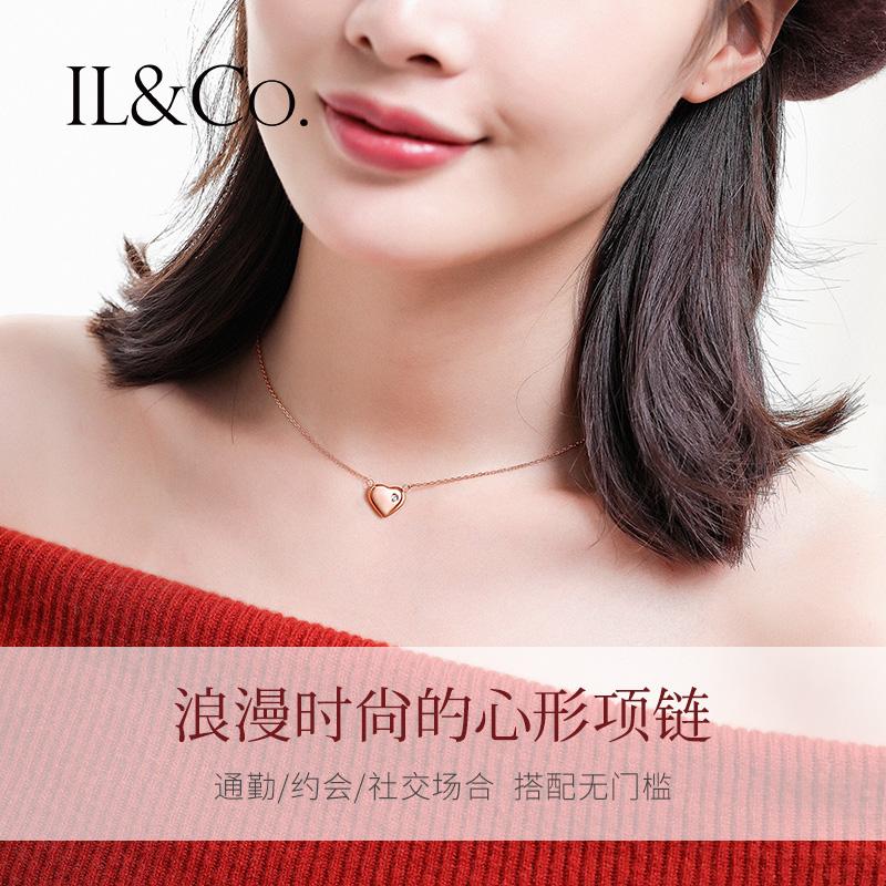日本独立设计师珠宝品牌 IL&Co 玫瑰金色心形钻石项链 镶钻0.4分 双重优惠折后¥99包邮 附GIC证书