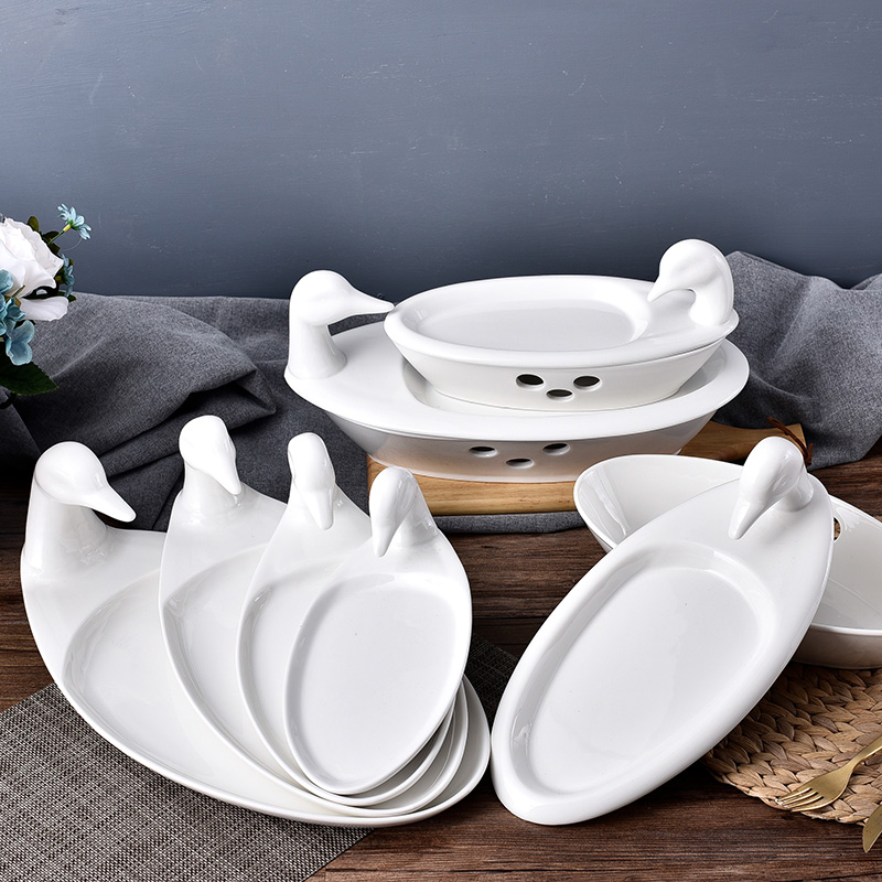 Creative piece of Beijing duck duck roast duck and roast chicago-brewed goose disc ceramic duck insulation heating plate hotel restaurant duck head plate