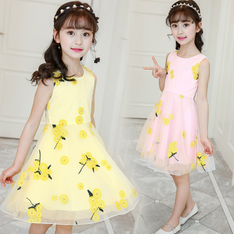 韩版无袖背心裙女童夏装连衣裙公主吊带裙