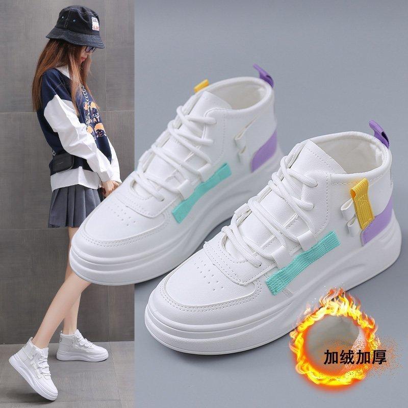 厚底增高小白鞋女2020秋冬季加绒新款韩版学生松糕板鞋耐磨休闲