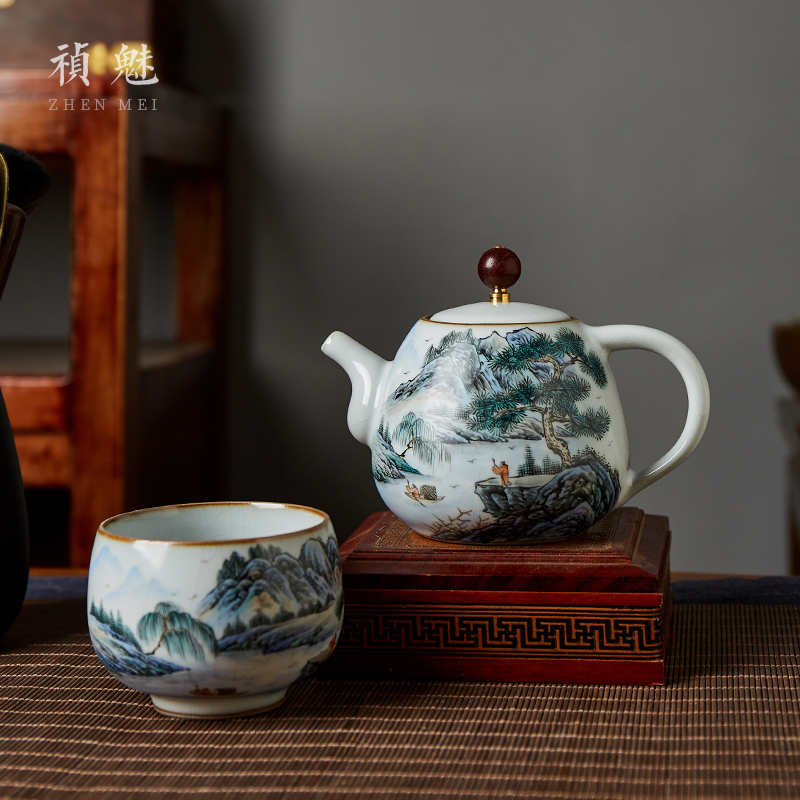 Shot incarnate your up hand - made scenery of jingdezhen ceramic teapot kung fu tea set household slicing can be a teapot