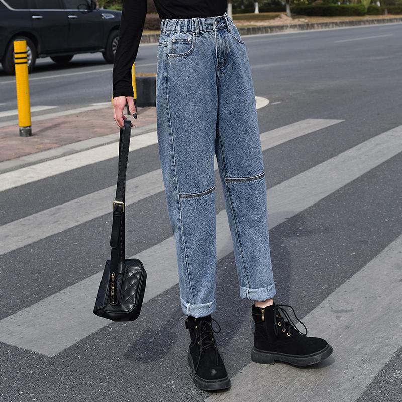 牛仔裤女春季新款复古高腰直筒老爹裤子百搭宽松显瘦松紧腰哈伦裤
