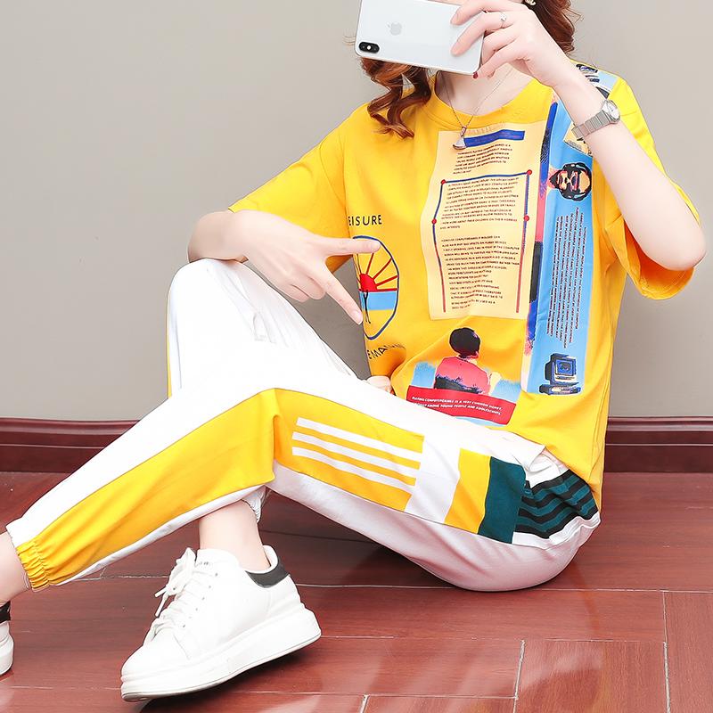 爆款2020年夏季新款韩版宽松运动休闲两件套印花跑步套装女时尚