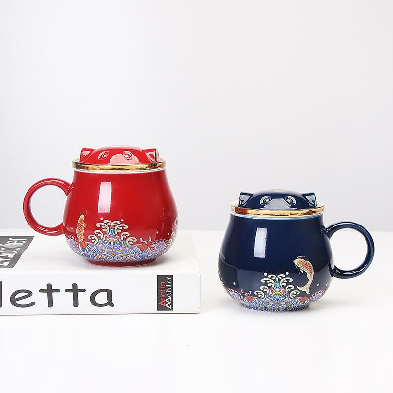 招財貓創意陶瓷茶水分離馬克杯過濾大容量辦公室泡茶杯送禮杯