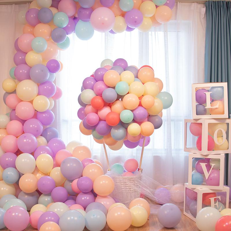 网红马卡龙气球结婚房间布置儿童生日派对趴体装饰汽球100个装