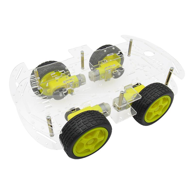 智能小车底盘 4WD 四轮驱动双层板4电机智能车循迹 避障DIY套件