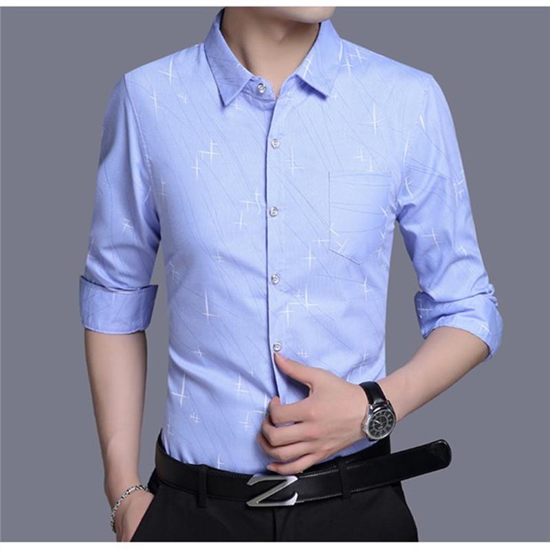 男士高级感真丝衬衫衣长袖超薄款冰丝绸秋季休闲中年男衬衣春夏季