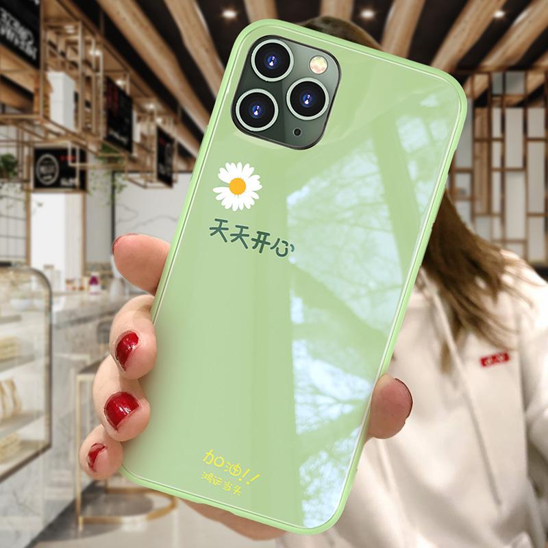 深港情适用于苹果11手机壳iphone x液态硅胶iphone11promax卡通雏菊玻璃11pro保护套可爱xr女款防