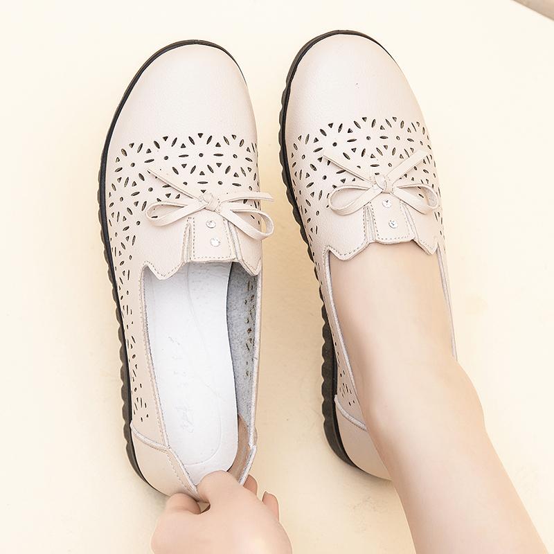 头层牛皮平底中年妈妈鞋舒适软底真皮女凉鞋