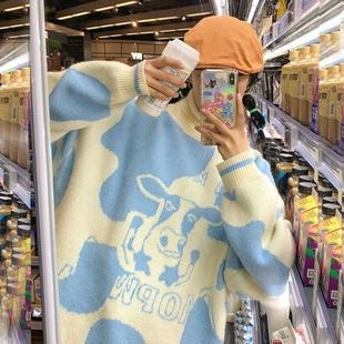 萌萌/冬季新款甜美可爱奶牛保暖高领毛衣