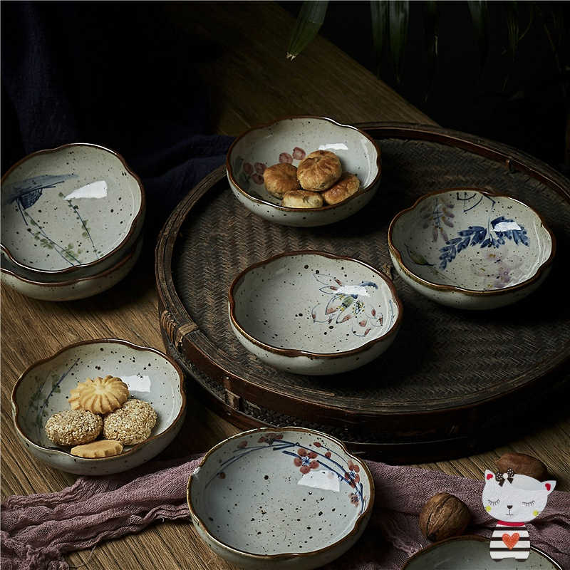English remember the town hand - made porcelain clay tea tea snack 'lads' Mags' including nuts small blue and white plate plate plate dessert plate