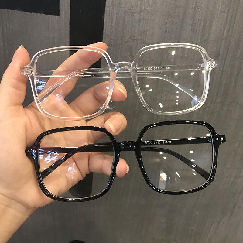 明星同款潮平光眼镜ins学生韩版黑色透明