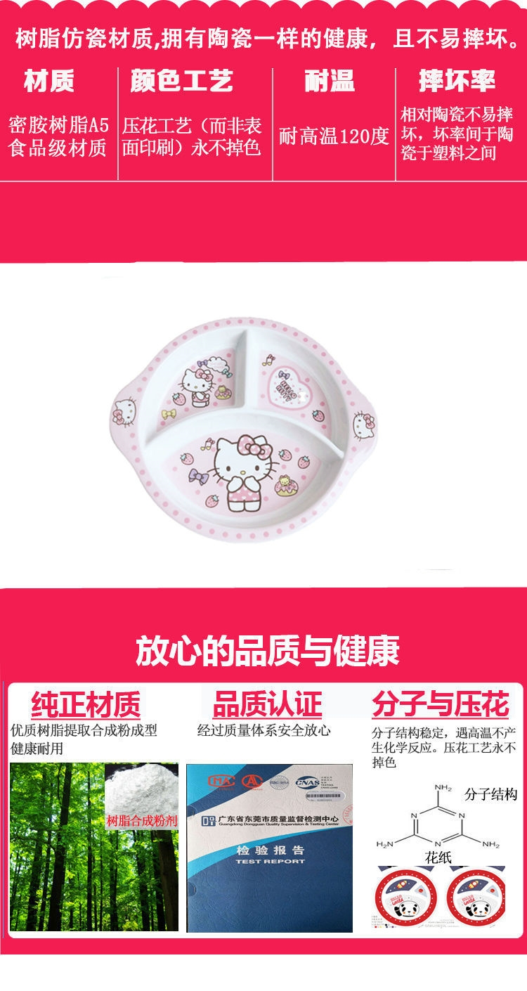 Fangci animated cartoon tableware kt cat baby 1 dish 10 inches from glaze suit melamine in infants