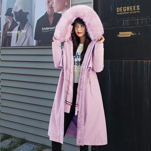 2020冬季保暖羊羔毛内胆可卸两穿韩版羽绒棉服女长款派克服棉衣女