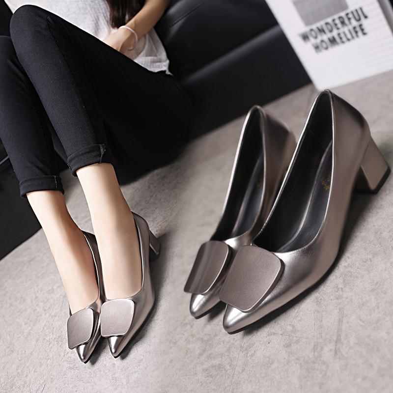 2020夏季新款女鞋中跟粗跟单鞋女尖头高跟时尚百搭职业女鞋商务潮